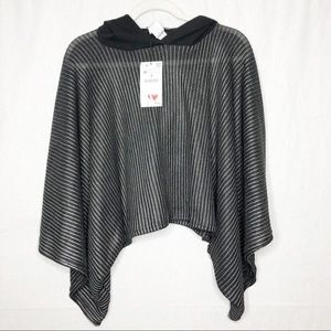 NWT Zara Striped Crop Poncho with Hood